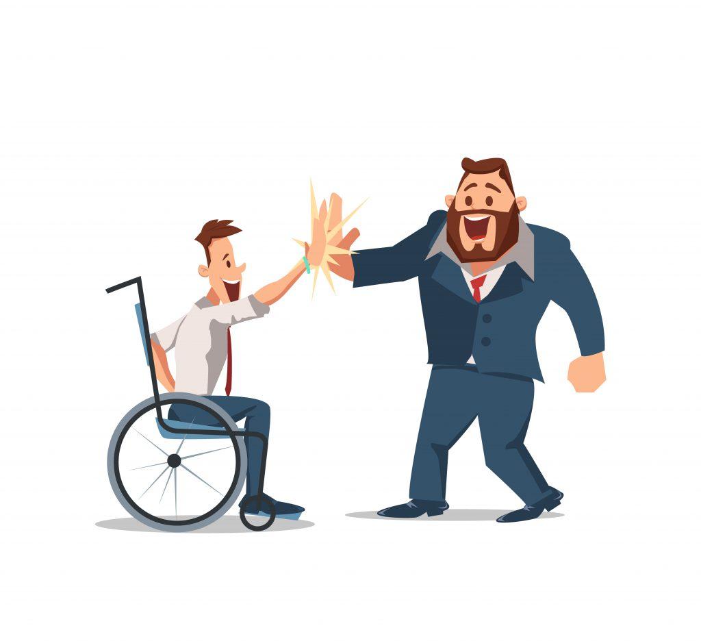 Icoon van een man in een rolstoel die een andere man een high five geeft