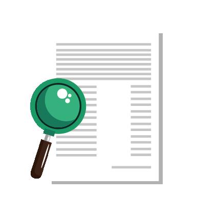 Icoon van een document met tekst met daarvoor een vergrootglas