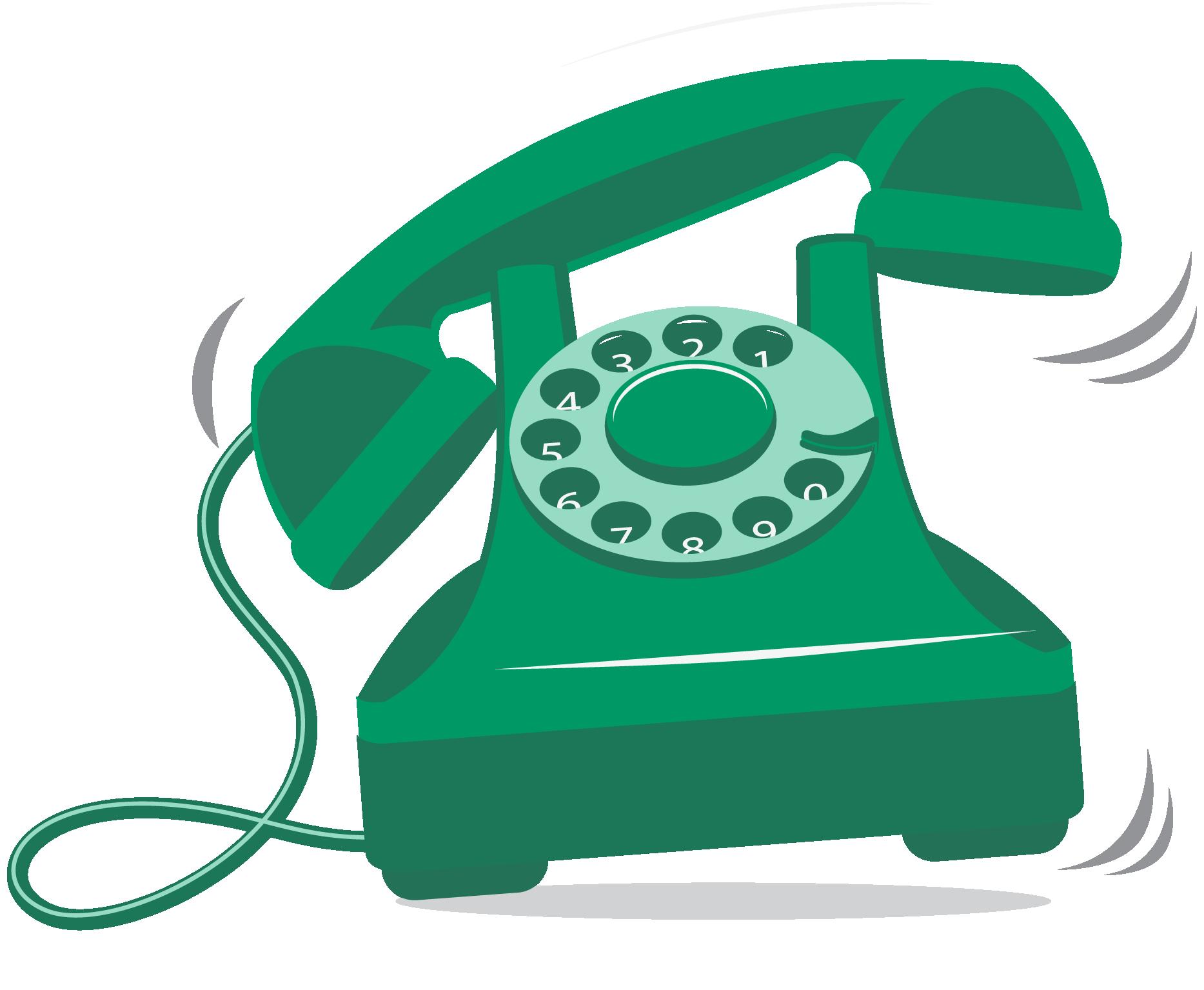 Icoon van een ouderwetse groene telefoon